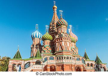 モスクワ, 祝福された, st., 有名, vasily, 大聖堂