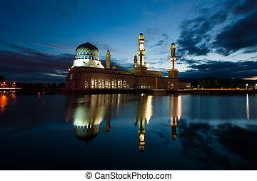 モスク, kota, kinabalu, 夜明け