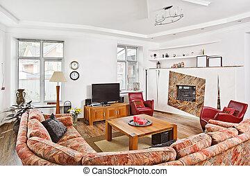 モダンアート, deco, スタイル, drawing-room, 内部, ∥で∥, 暖炉, そして, tv