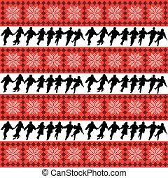 モチーフ, ダンス, シルエット, 背景, 民族, アンサンブル, 人々