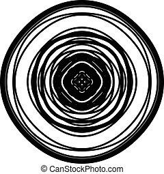 モチーフ, ライム, 抽象的, 放射状, 同心である, 幾何学的, element., 円