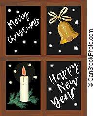 モチーフ, 緑, フレーム, 幸せ, 陽気, 窓, 年, ブランチ, 鐘, トウヒ, 白い背景, ろうそく, 夜, 星, 窓, 金, 木製である, クリスマス, 黒, 手紙, 新しい