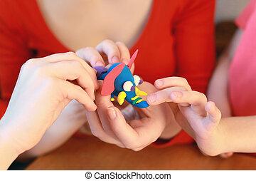 モデリング, の, 手製, 象, から, plasticine