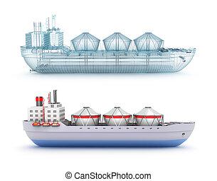 モデル船, ワイヤー, タンカー, オイル