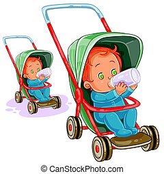 モデル, イラスト, stroller, ベクトル, 赤ん坊, bottle., 牛乳