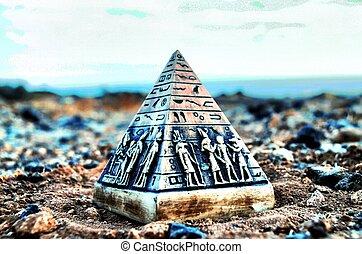 モデル, エジプト人, ミニチュア, ピラミッド