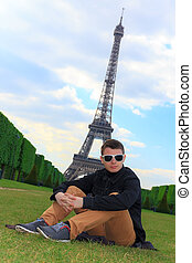 モデル, エッフェル, 若い, フランス, 情報通, タワー, 人