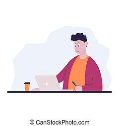 モデル, オフィス, bummer, desk., ベクトル, コンピュータの色, 椅子, イラスト