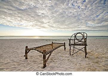 モデル, キャンプ, ベッド, 竹, 浜の 椅子, 砂
