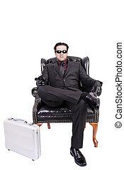 モデル, キラー, 隔離された, バックグラウンド。, 椅子, 白