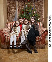 モデル, ソファー, イブ, 母クリスマス, 娘