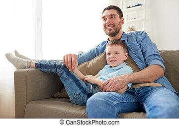 モデル, ソファー, 父, 息子, 家, 幸せ