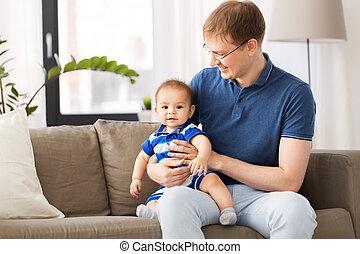 モデル, ソファー, 父, 息子, 赤ん坊, 家, 幸せ