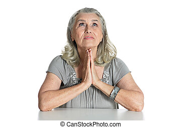 モデル, テーブル, シニア, 祈ること, 女, 感情的, 間