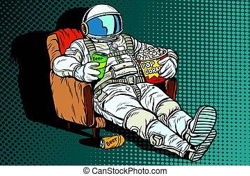 モデル, ビール, 宇宙飛行士, ポップコーン, 椅子, 聴衆