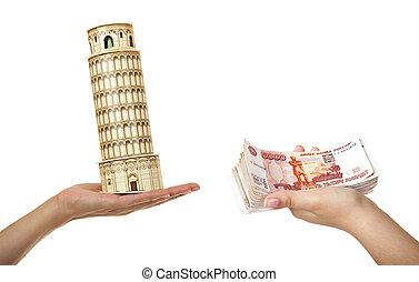 モデル, ピサのタワー, そして, a, パック, の, 5, thousandth, の, メモ, 中に, 女性, hands., (purchase, の, ∥, 旅行, へ, italy)