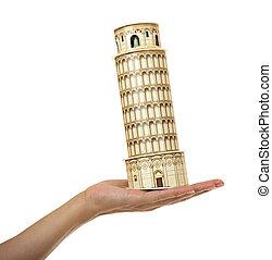 モデル, ピサのタワー, 中に, ∥, 女性, 手。