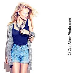 モデル, ファッション, 女の子, ファッション, 隔離された, style., 通り, portrait., 白, 偶然