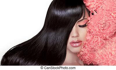 モデル, ブルネット, 美しさ, 健康, 素晴らしい, 滑らかである, 隔離された, 長い間, salon., 毛, バックグラウンド。, 女, 黒, hair., 肖像画, 女の子, 光沢がある, 白