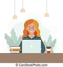 モデル, ベクトル, タイプ, 漫画, laptop., ビジネステーブル, notebook., 女, 女性