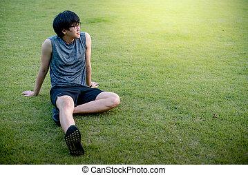 モデル, ランナー, 後で, 若い, 動くこと, アジア人, 草, 人
