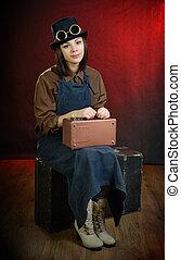 モデル, 不良, スーツケース, 女の子, 蒸気, ポーター