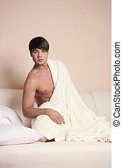 モデル, 人, bed.