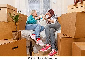 モデル, 写真, 女の子, 2, 箱, ソファー, ボール紙
