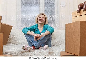 モデル, 写真, 箱, ソファー, 女の子, ボール紙