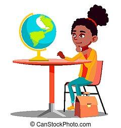 モデル, 地球, 隔離された, イラスト, 見る, vector., 不思議である, テーブル, 女の子
