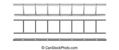モデル, 壁, はしご, 隔離された, イラスト, バックグラウンド。, 白, 切抜き, 3d