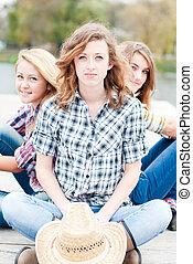 モデル, 女の子, 3, 一緒に, 屋外で, 幸せ