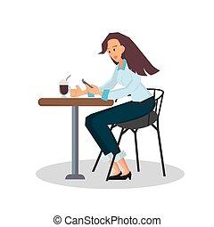 モデル, 女性実業家, 色, desk., ベクトル, illustration., 椅子