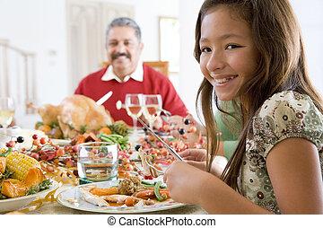モデル, 孫娘, 祖父, 下方に, 夕食, クリスマス