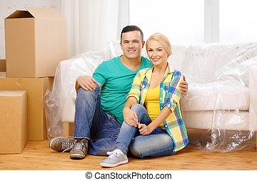 モデル, 家, 恋人, 床, 新しい, 微笑