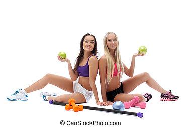 モデル, 微笑, スポーティ, 体操, ポーズを取る, ボール