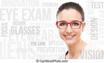 モデル, 微笑, ファッション, ポーズを取る, eyewear