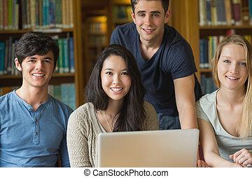 モデル, 微笑, 生徒, 図書館, 間