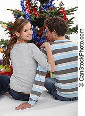 モデル, 恋人, ティーネージャー, 木。, 前部, クリスマス