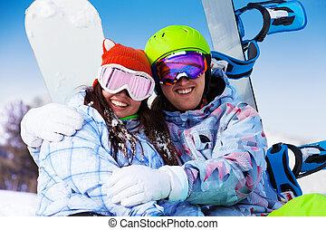 モデル, 恋人, マスク, 抱き合う, 微笑, スキー