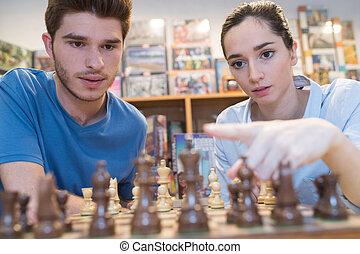 モデル, 恋人, 若い, チェス, テーブル, 遊び