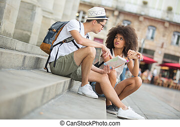 モデル, 恋人, 若い, 保有物, 階段, ガイド