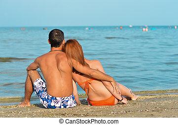 モデル, 恋人, 若い, 包含, 浜, 砂, 幸せ