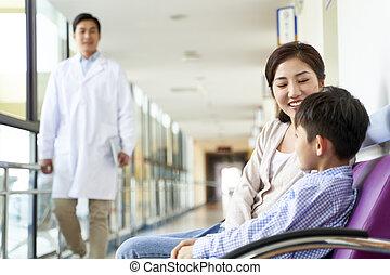 モデル, 息子, アジア人, 玄関, 病院, 母