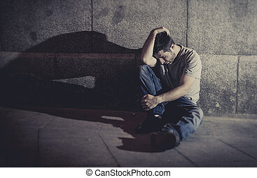 モデル, 憂うつにされた, 若い, コンクリート, 通り, 影, 人, 壁, 地面