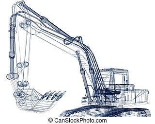 モデル, 掘削機, 3d
