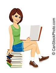 モデル, 提示, 若い, 教科書, 本, 学生, 女の子, 開いた, 山