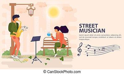 モデル, 旗, 人, 平ら, イラスト, ベンチ, ベクトル, 遊び, 通り, サクソフォーン, 音楽家, 女の子, 漫画