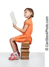 モデル, 本, 本, 女の赤ん坊, 読書