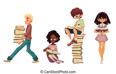 モデル, 歩くこと, 本, セット, 読書, 子供
